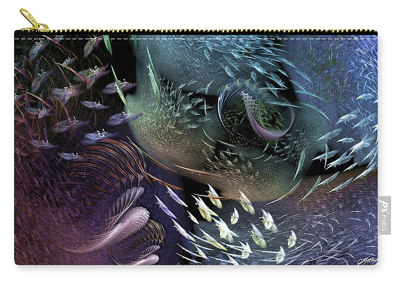 Abstract Carry-all Pouch featuring the digital art The Intricacy Of Existence by Casey Kotas