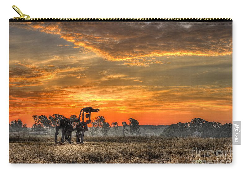 Reid Callaway The Iron Horse Sunrise Carry-all Pouch featuring the photograph The Iron Horse 517 Sunrise by Reid Callaway