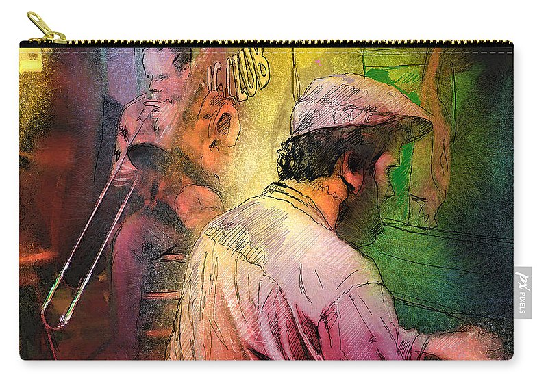 Jazz Carry-all Pouch featuring the painting The Jazz Vipers In New Orleans 01 by Miki De Goodaboom