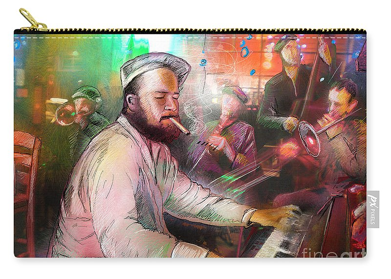Jazz Carry-all Pouch featuring the painting The Jazz Vipers In New Orleans 04 by Miki De Goodaboom
