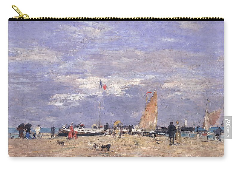 The Carry-all Pouch featuring the painting The Jetty At Deauville by Eugene Louis Boudin