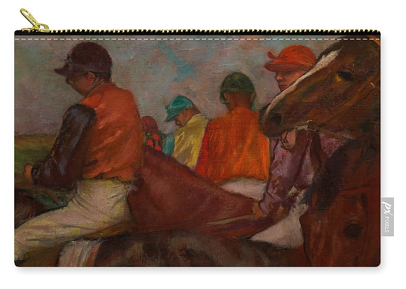 Painting Carry-all Pouch featuring the painting The Jockeys by Mountain Dreams