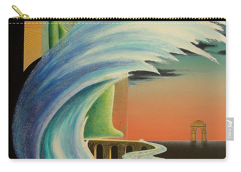 Romantic Carry-all Pouch featuring the painting The Journy-17 by Raju Bose