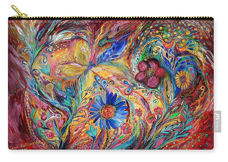 Original Carry-all Pouch featuring the painting The Joyful Iris by Elena Kotliarker