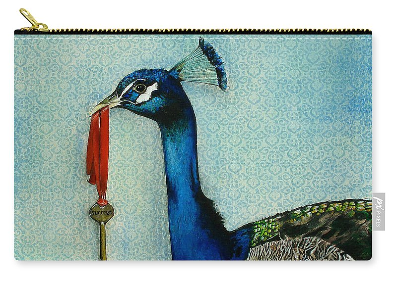 The Key To Success Carry-all Pouch featuring the painting The Key To Success by Carrie Jackson