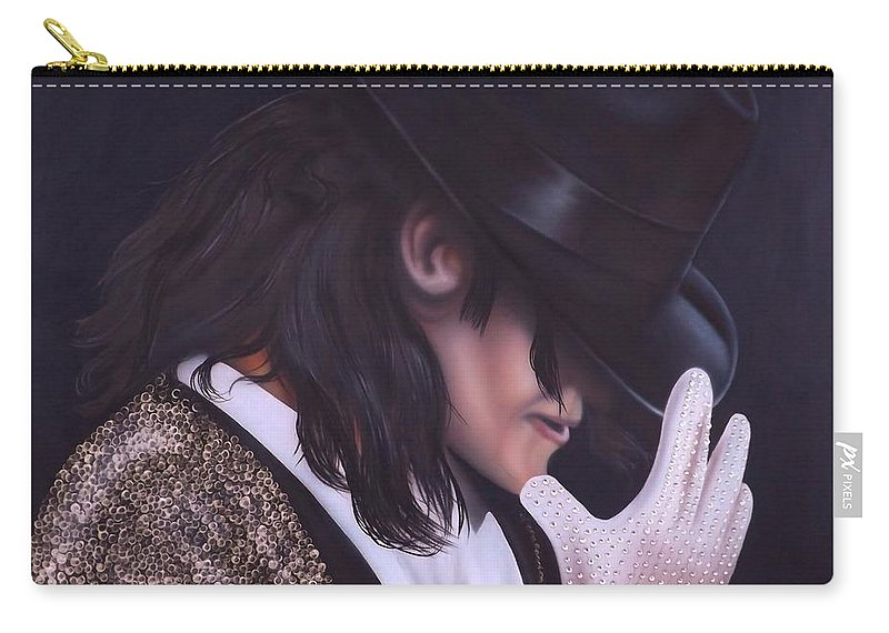 The King Of Pop Carry-all Pouch featuring the painting The King of Pop by Darren Robinson