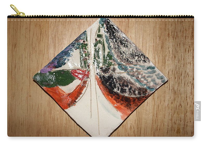 Jesus Carry-all Pouch featuring the ceramic art the Kiss 9 - tile by Gloria Ssali
