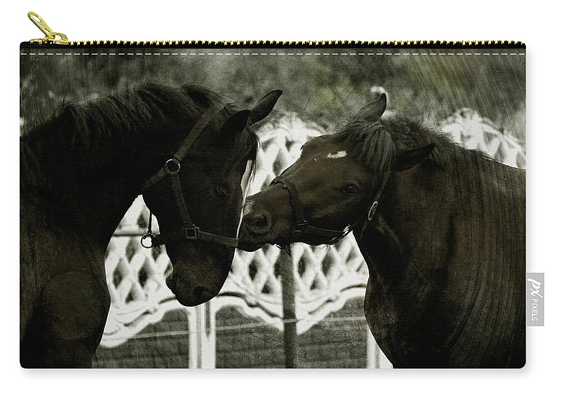 Kiss Carry-all Pouch featuring the photograph The Kiss by Angel Ciesniarska