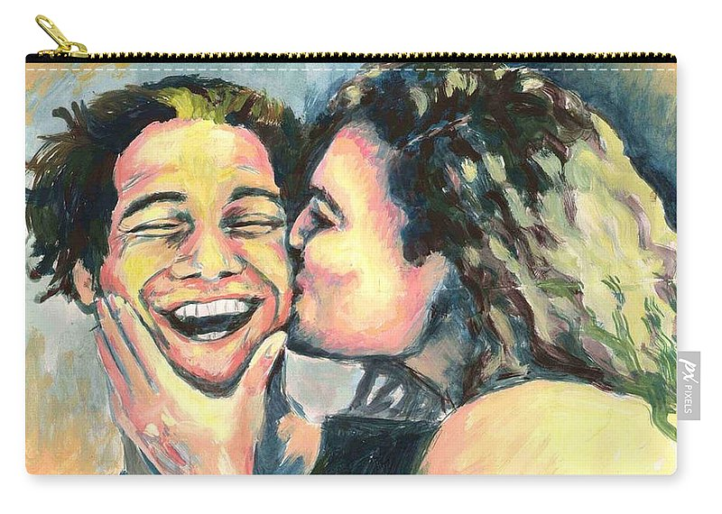 Man Carry-all Pouch featuring the painting The Kiss by Nicole Zeug