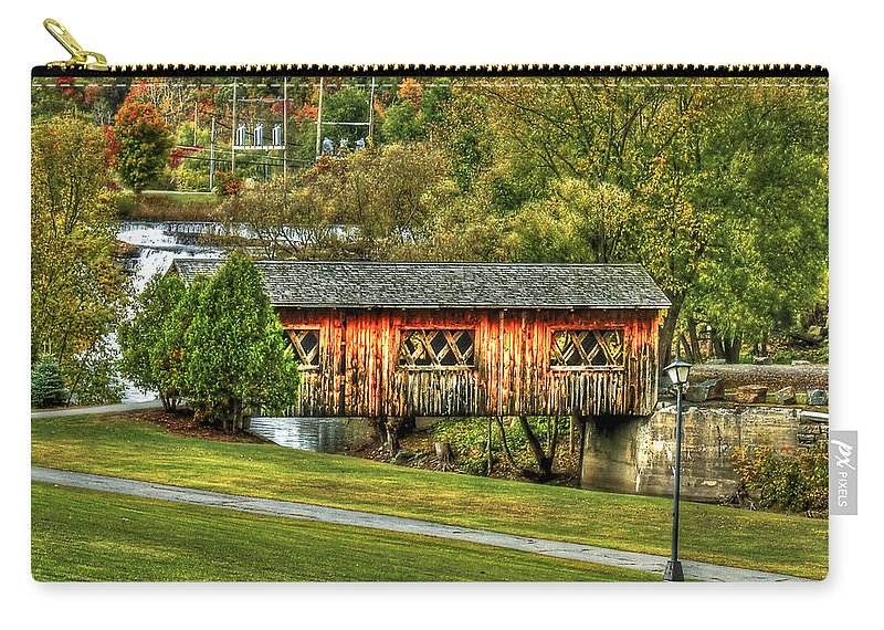 Covered Bridge Carry-all Pouch featuring the photograph The Kissing Bridge by Evelina Kremsdorf