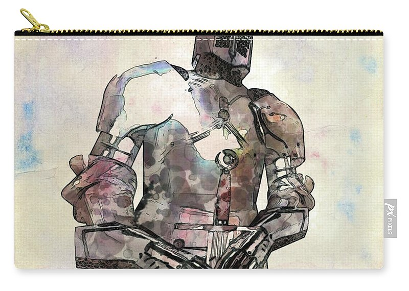 Fantasy Carry-all Pouch featuring the painting The Knight Pop Art By Mary Bassett by Mary Bassett