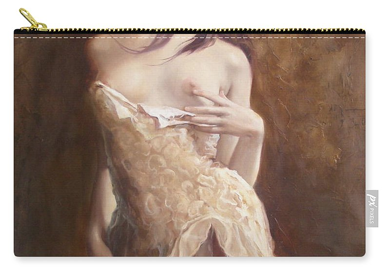 Art Carry-all Pouch featuring the painting The laces by Sergey Ignatenko