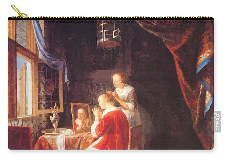 The Carry-all Pouch featuring the painting The Lady At Her Dressing Table 1667 by Dou Gerrit