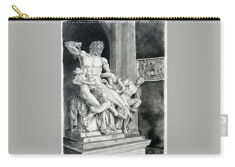 Laocoön Carry-all Pouch featuring the drawing The Laocoon Group by Corey Jenny