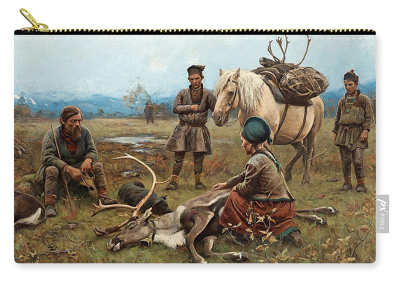 Johan Tiren Carry-all Pouch featuring the painting The Laplander Camp At Gleen by Johan Tiren