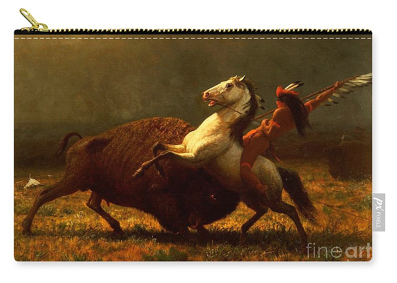 Albert Bierstadt Carry-all Pouch featuring the painting The Last of the Buffalo by Albert Bierstadt