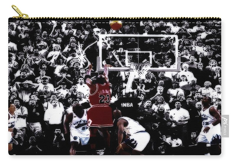 Michael Jordan Carry-all Pouch featuring the digital art The Last Shot 5 by Brian Reaves