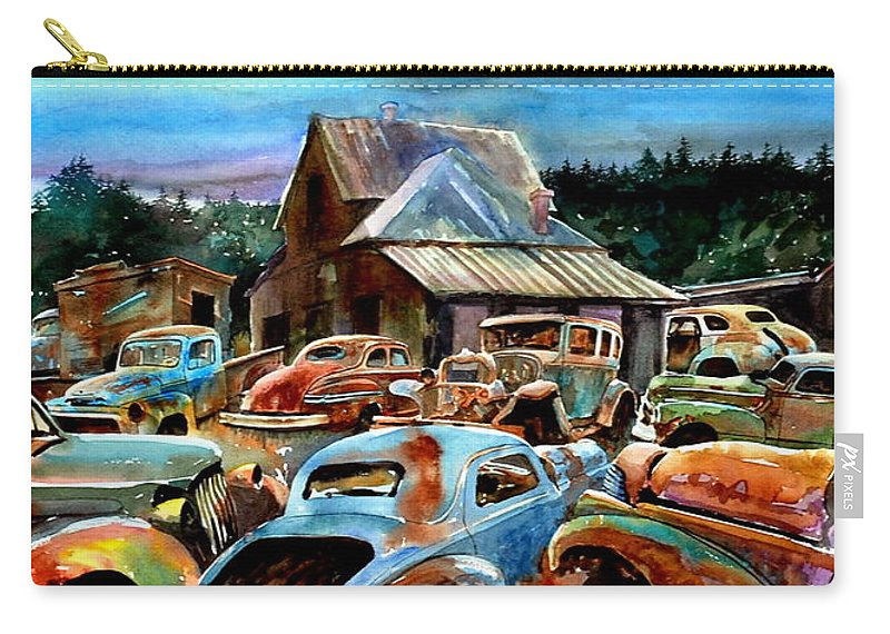 Old Cars Carry-all Pouch featuring the painting The Last Stand by Ron Morrison