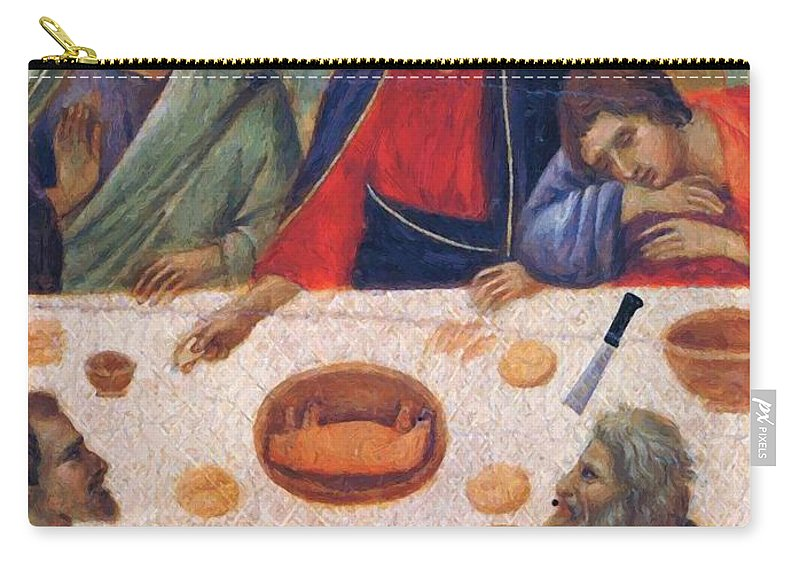 The Carry-all Pouch featuring the painting The Last Supper Fragment 1311 by Duccio