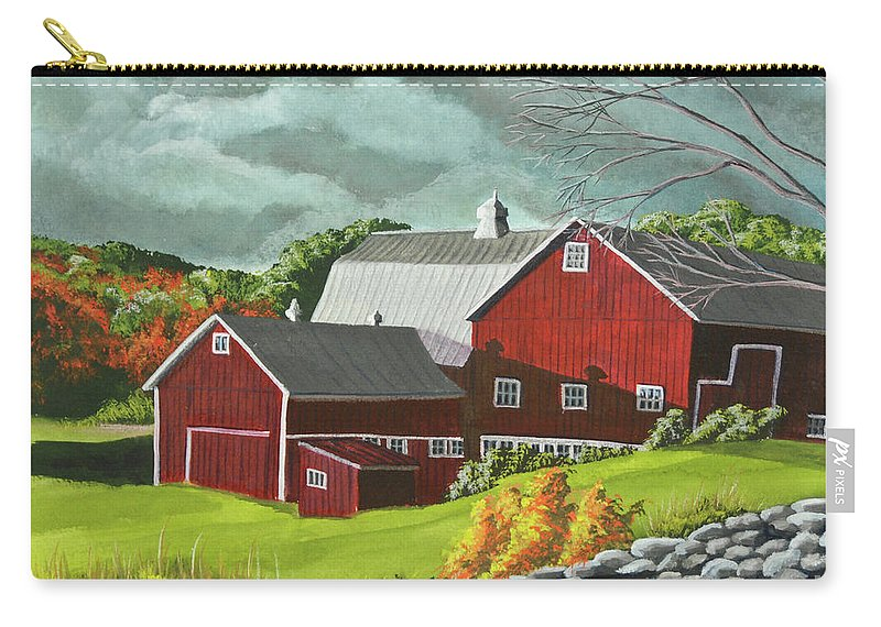 Barn Painting Carry-all Pouch featuring the painting The Light After The Storm by Charlotte Blanchard