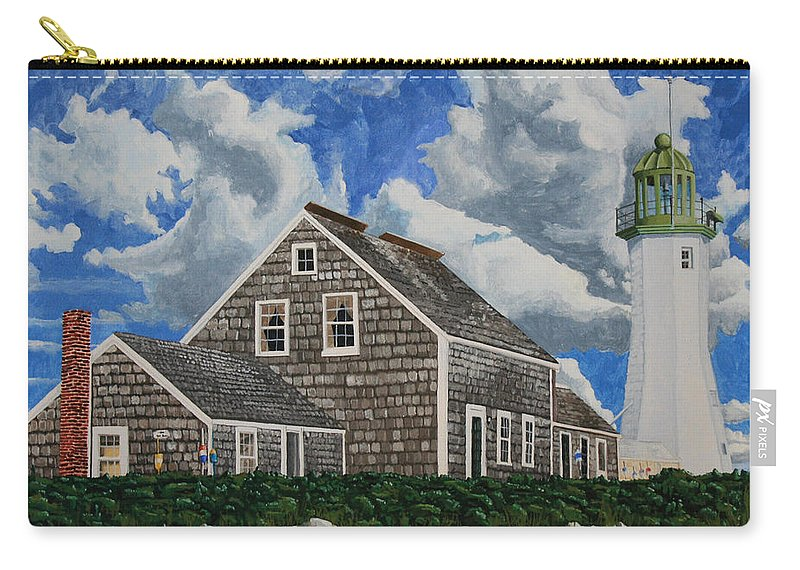 Lighthouse Carry-all Pouch featuring the painting The Light Keeper's House by Dominic White