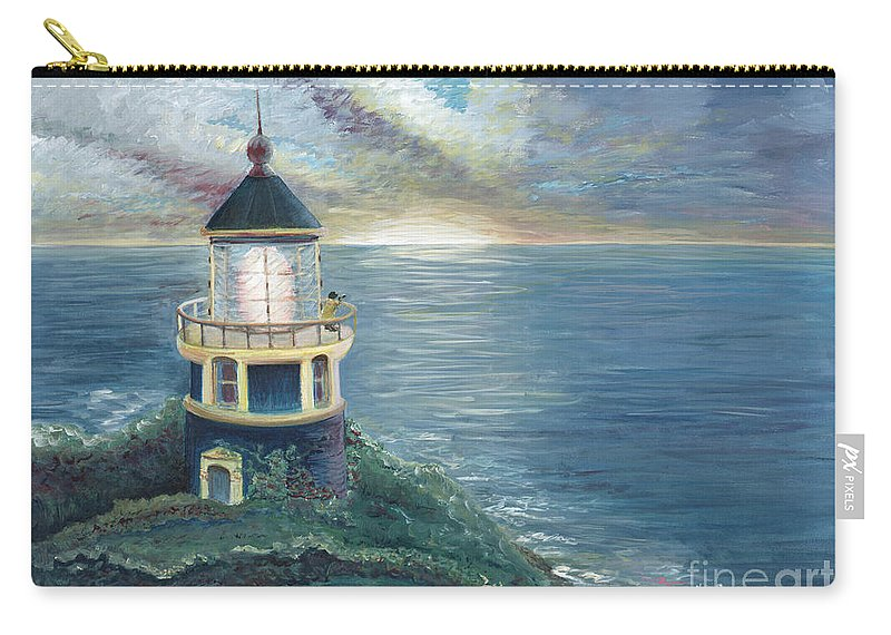 Lighthouse Carry-all Pouch featuring the painting The Lighthouse by Nadine Rippelmeyer