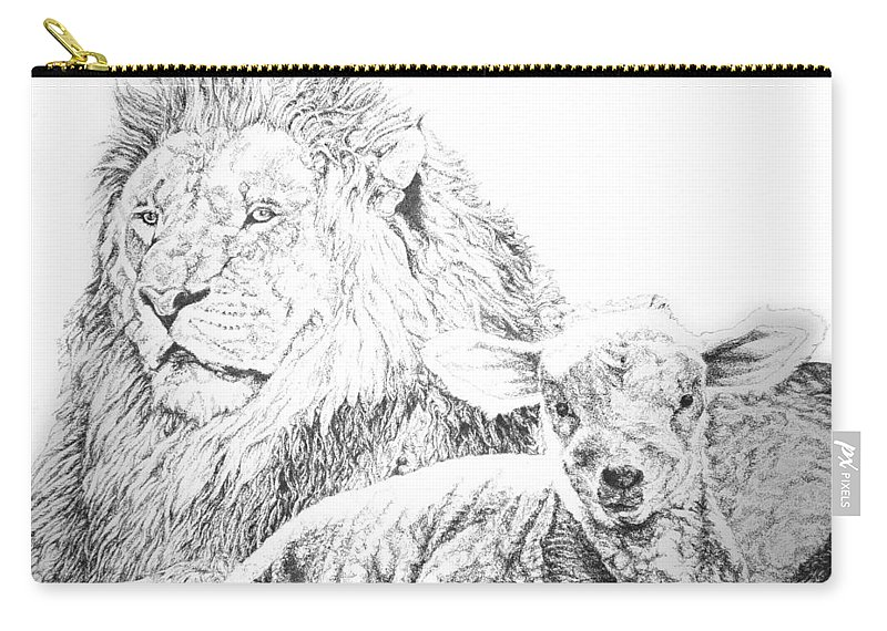 Lion Carry-all Pouch featuring the drawing The Lion And The Lamb by Bryan Bustard