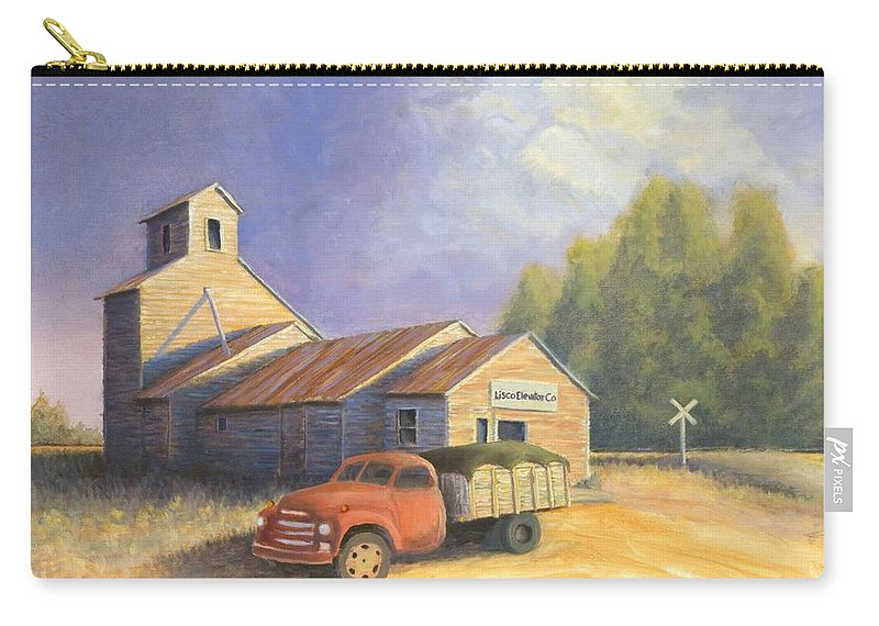 Nebraska Carry-all Pouch featuring the painting The Lisco Elevator by Jerry McElroy