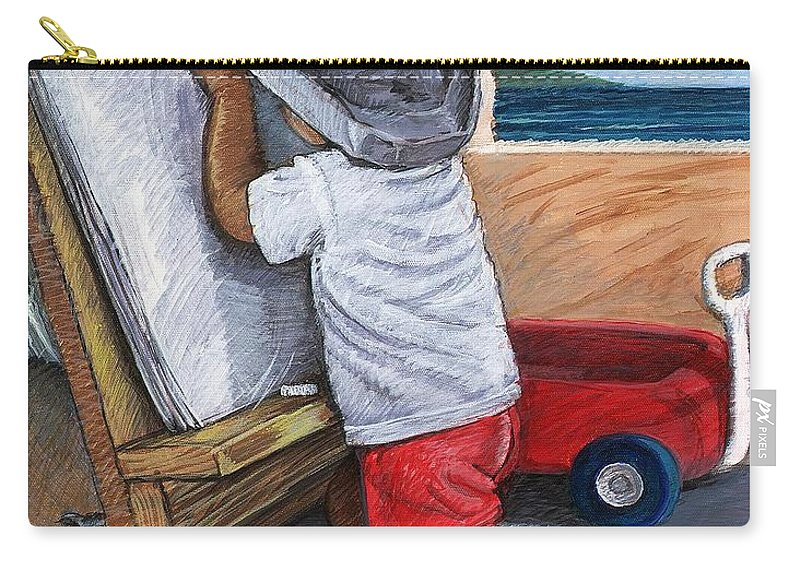 Young Artist Carry-all Pouch featuring the painting The Little Artist by Snake Jagger