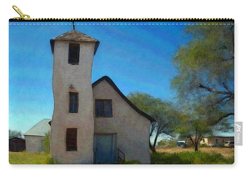 Church Carry-all Pouch featuring the mixed media The Little Church by Snake Jagger