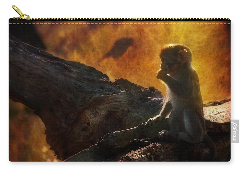 Monkey Carry-all Pouch featuring the photograph The Little Golumn by Angel Ciesniarska