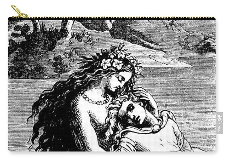 Mermaid Carry-all Pouch featuring the drawing The Little Mermaid And The Prince by German School