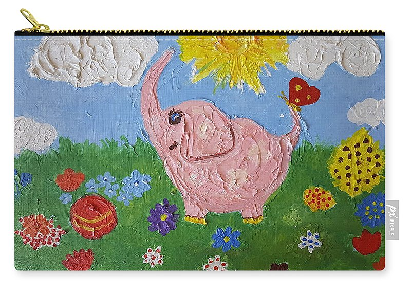 Elephant Carry-all Pouch featuring the painting Little Pink Elephant by Rita Fetisov