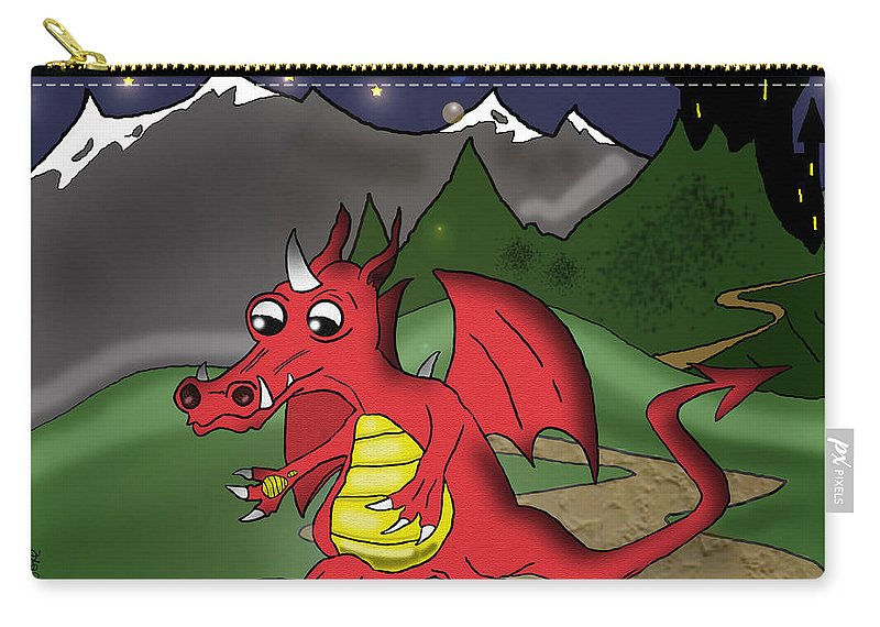 Dragon Carry-all Pouch featuring the drawing The Little Red Dragon by Kev Moore
