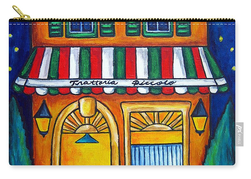 Blue Carry-all Pouch featuring the painting The Little Trattoria by Lisa Lorenz
