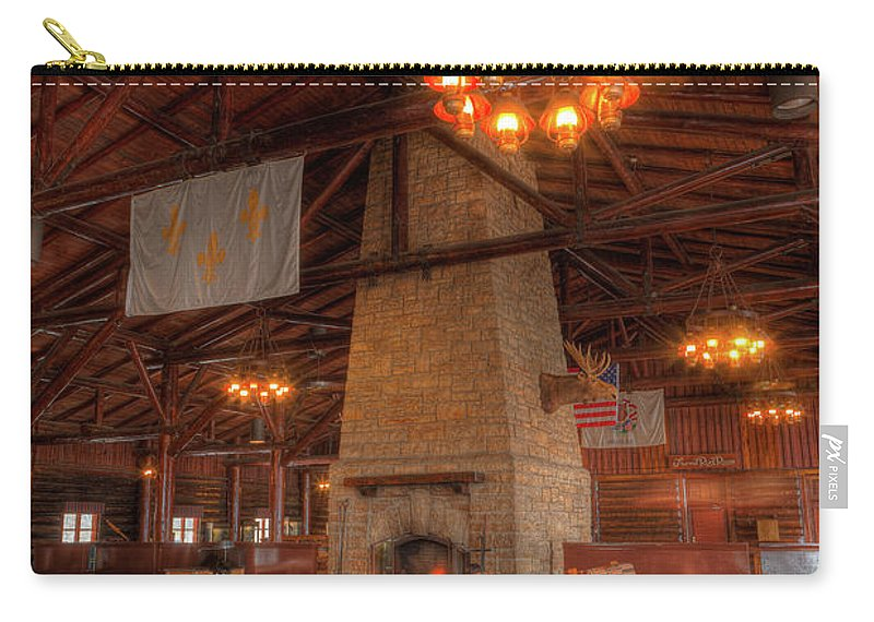 Hdr Carry-all Pouch featuring the photograph The Lodge At Starved Rock State Park Illinois by Steve Gadomski