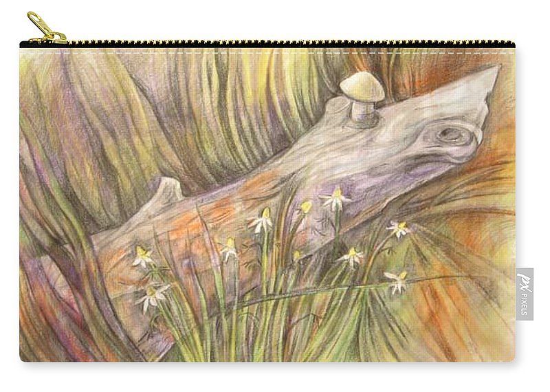 Drift Wood Carry-all Pouch featuring the drawing The Log by Anna Duyunova