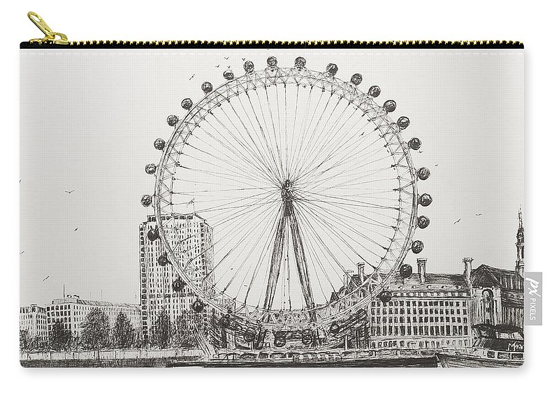 London Carry-all Pouch featuring the drawing The London Eye by Vincent Alexander Booth