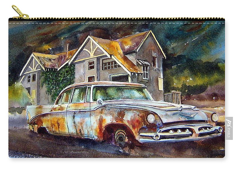 Old Dodoges Carry-all Pouch featuring the painting The Lonesome Hotel by Ron Morrison