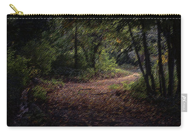 Forest Carry-all Pouch featuring the digital art The Long Road by CR Beaumont
