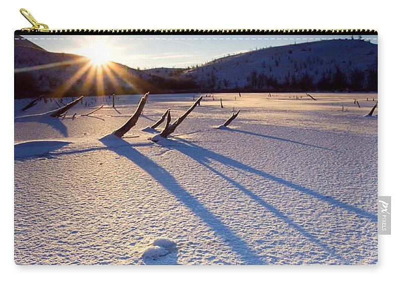 Sunrise Carry-all Pouch featuring the photograph The Long Shadows Of Winter by Mike Dawson