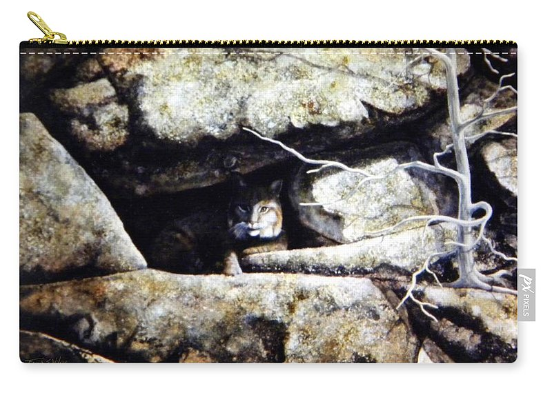 Wildlife Carry-all Pouch featuring the painting The Lookout Lynx by Frank Wilson