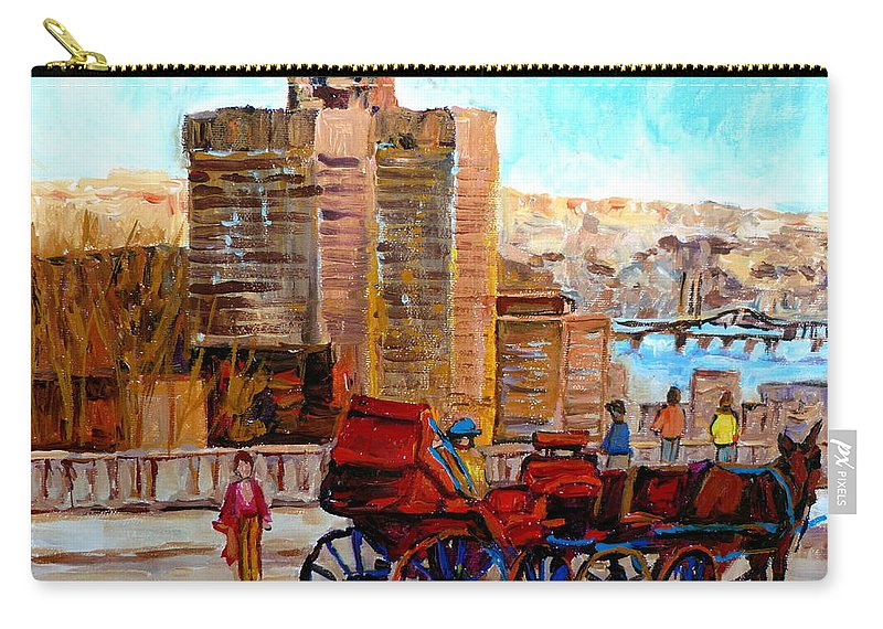 Montreal Street Scene Carry-all Pouch featuring the painting The Lookout On Mount Royal Montreal by Carole Spandau