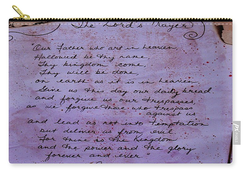 ruth Palmer Carry-all Pouch featuring the mixed media The Lord's Prayer Collage by Ruth Palmer