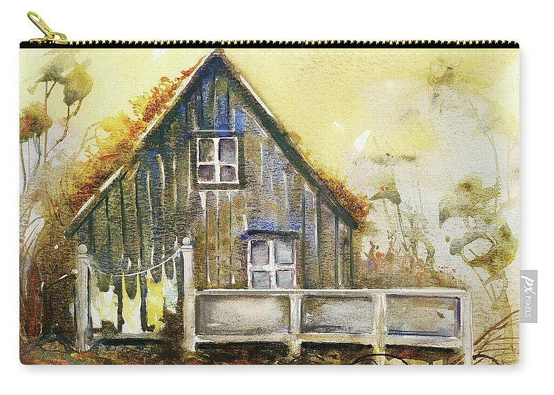 Watercolors Carry-all Pouch featuring the painting The Lovely Cabin by Kristina Vardazaryan