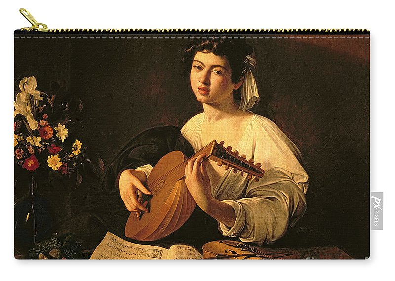 The Lute Player Carry-all Pouch featuring the painting The Lute Player by Michelangelo Merisi da Caravaggio