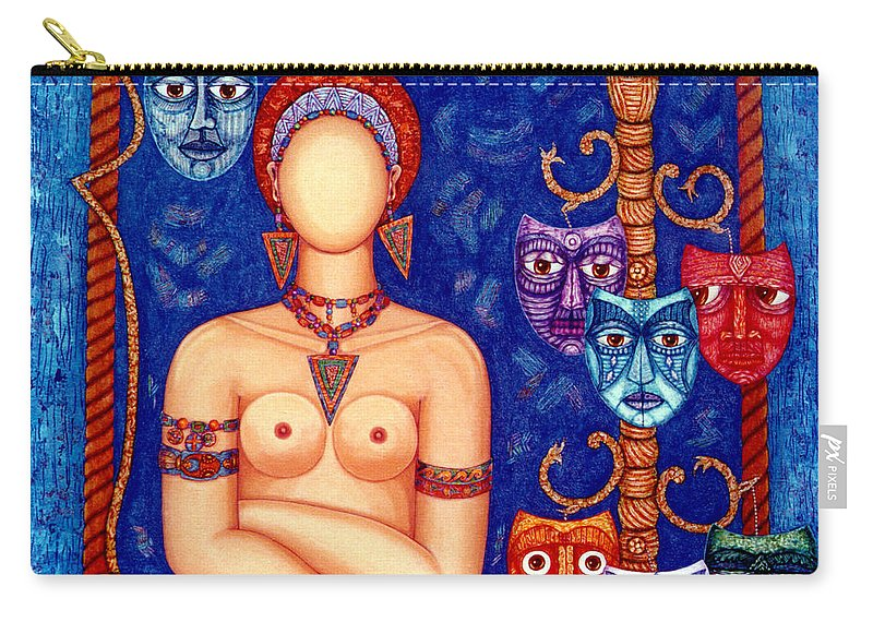 Madwoman Carry-all Pouch featuring the painting The Madwoman by Madalena Lobao-Tello