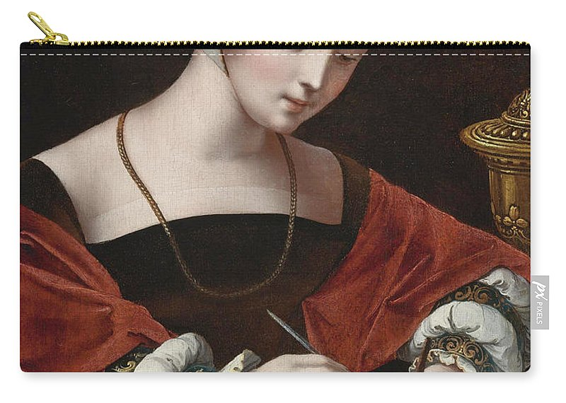 The Master Of The Female Half-lengths Carry-all Pouch featuring the painting The Magdalene Writing A Letter by The Master of the Female Half-lengths