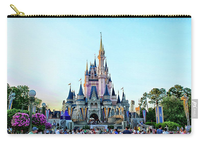 Magic Kingdom Carry-all Pouch featuring the photograph The Magic Kingdom Castle On A Beautiful Summer Day Horizontal MP by Thomas Woolworth