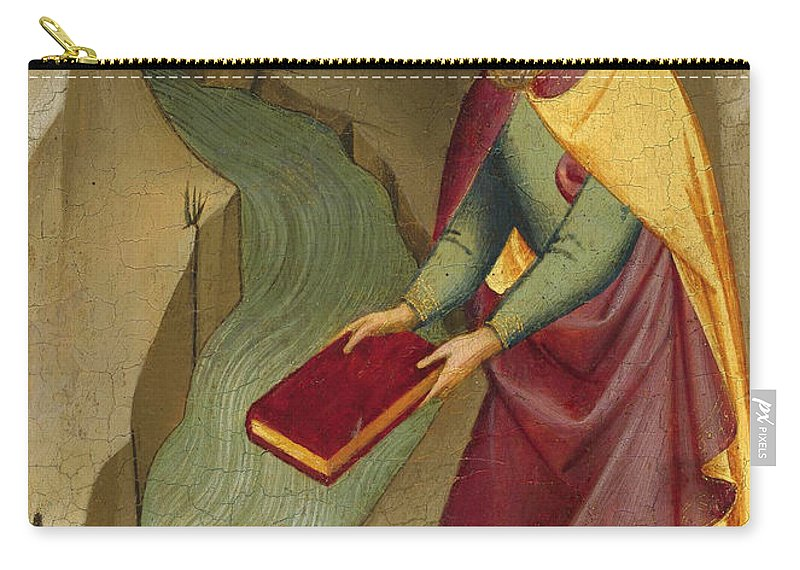 Lorenzo Monaco Carry-all Pouch featuring the painting The Magus Hermogenes Casting His Magic Books Into The Water by Lorenzo Monaco